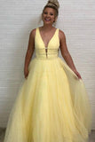 A Line Deep V Neck Ball Gown Prom Dresses Open Back White Evening Dresses PW536