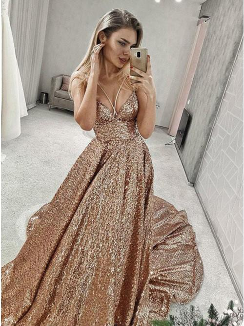 A Line Gold V Neck Sequin Long Prom Dress, Long Cheap Evening Dresses PW849