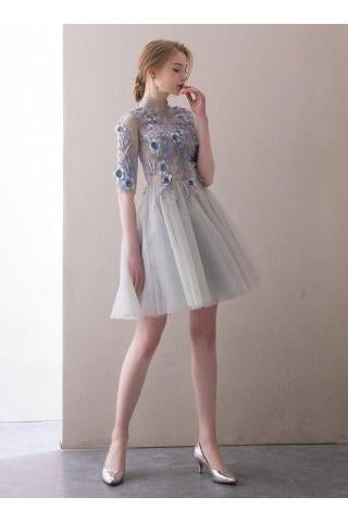 A Line Half Sleeve Lace Short Prom Dresses,High Neck Tulle Homecoming Dresses PW819