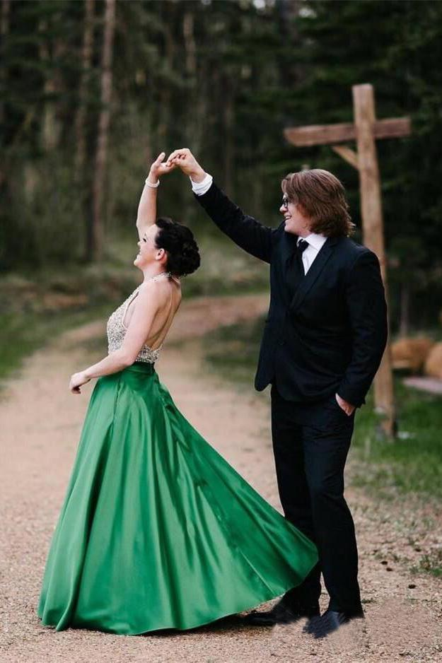 A Line Halter Emerald Green Beaded Prom Dresses Backless Satin Long Prom Dresses PW825