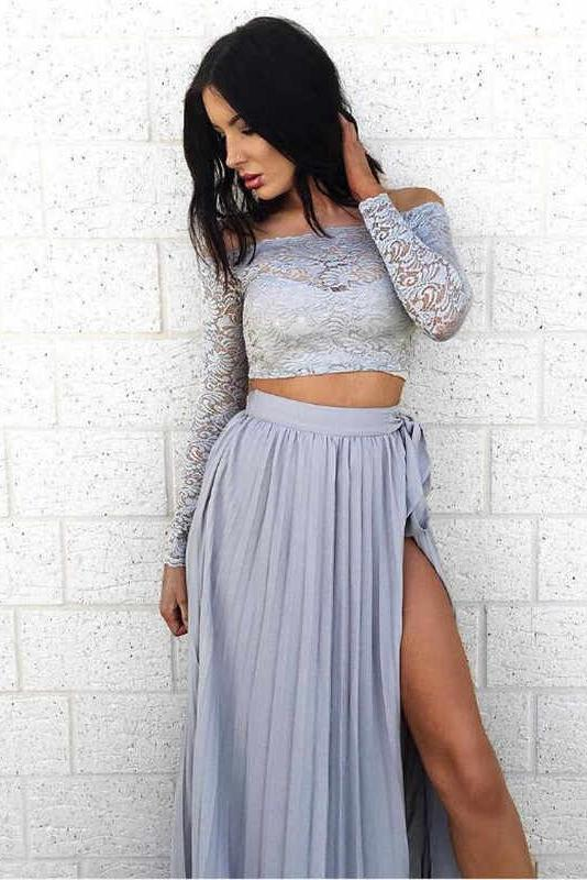 A Line Long Sleeve Two Pieces Off the Shoulder Prom Dresses with Lace, Evening Dresses PW848