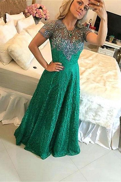A Line Short Sleeve Green Lace Appliques Beads Prom Dresses, Floor Length Evening Dress PW931