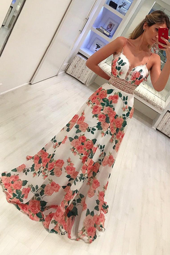A Line Spaghetti Straps Floral Print  V Neck Prom Dresses, Simple Party Dresses P1015