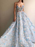 A Line Spaghetti Straps Sweetheart 3D Flower Applique Sky Blue Prom Dresses uk PW426