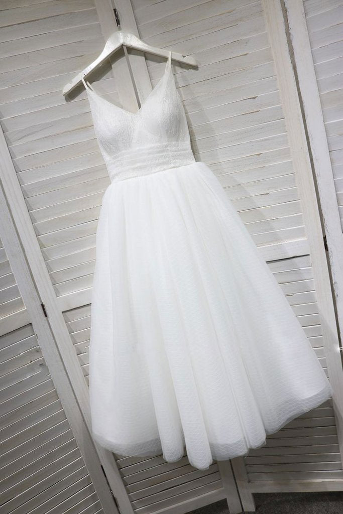 A Line Spaghetti Straps White Lace up Tulle V Neck Short Prom Dress, Homecoming Dress H1028