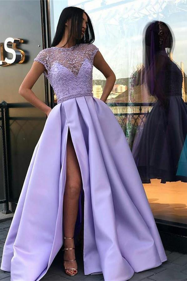 A Line Stunning Satin Beads Cap Sleeves Prom Dresses with High Slit Pockets PW891