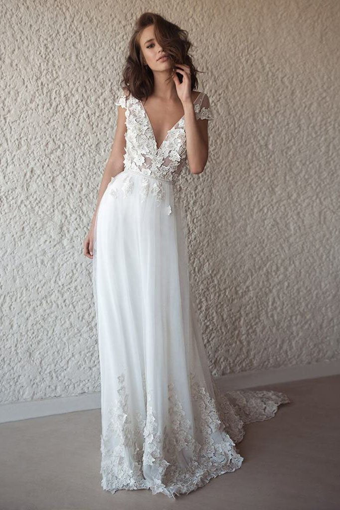A Line Tulle Lace Appliques Wedding Dresses Short Sleeve Backless V Neck Bridal Dress PW494