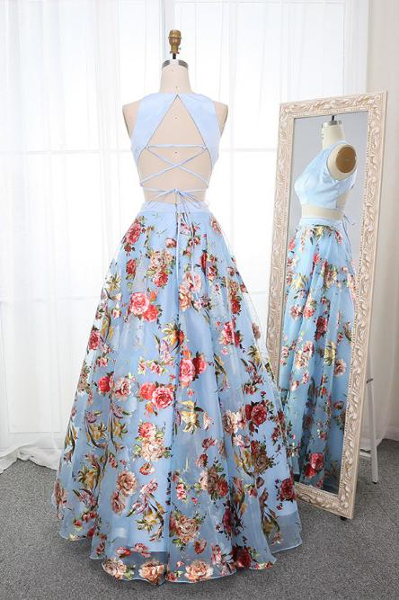 A Line Two Piece Crew Open Back Prom Dresses, Light Blue Printed Evening Dresses PW846