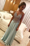 A Line V Neck Light Green Beads Sleeveless Satin Prom Dresses, Long Formal Dresses PW457
