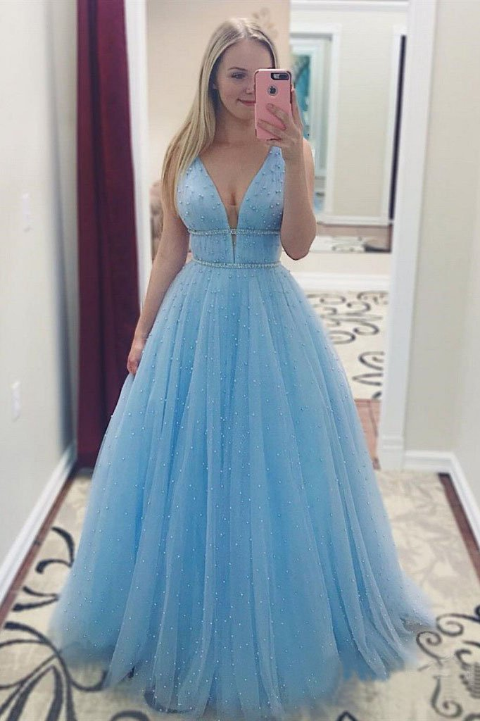 A Line V Neck Tulle Light Blue Prom Dresses Floor Length Beads Evening Gowns PW528