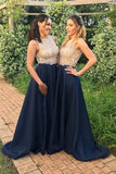 A line High Neck Blue Sleeveless Beads Prom Dresses, Satin Bridesmaid Dresses PW876