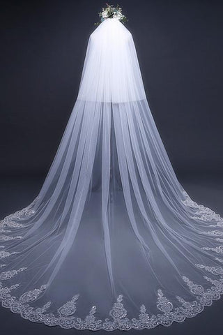 Cathedral Tulle Lace Ivory Wedding Veil Bridal Veil,Wedding Veil uk PW288