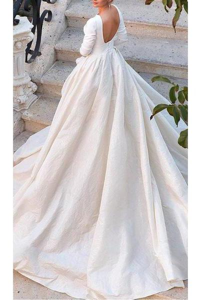 Backless Long Sleeve Ivory Wedding Dresses, Modest 3/4 Sleeve Wedding Gowns PW432