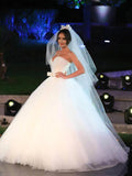 Ivory Ball Gown Bowknot Sweetheart Tulle Wedding Dresses Strapless Wedding Gowns OM19
