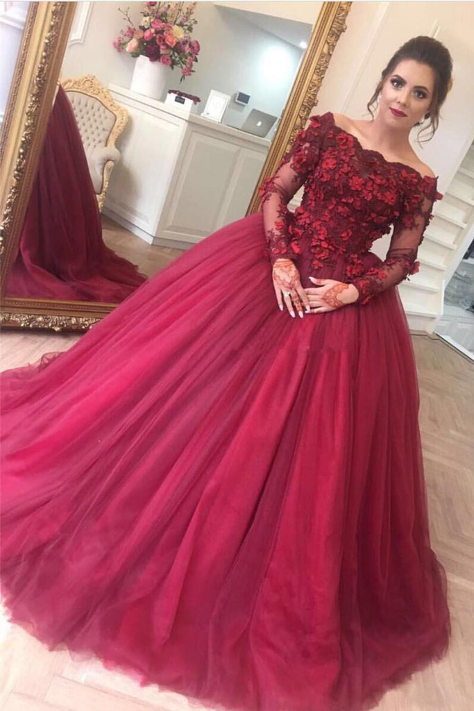 Ball Gown Burgundy Off the Shoulder Long Sleeve Appliques Tulle Party Dresses PW552