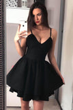 Black Mini Homecoming Dresses Spaghetti Straps A Line Above Knee Short Hoco Dress PW950