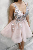 Blush Pink Deep V Neck Appliques Short Prom Dresses, Above Knee Homecoming Dress PW954