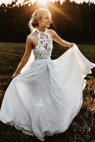 A line Chiffon Lace Ivory Halter Long Wedding Dresses, Beach Bridal Dresses OM113