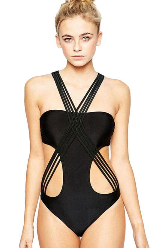 Chic Black Monokini One Piece Crisscross Strappy Swimsuit SK040