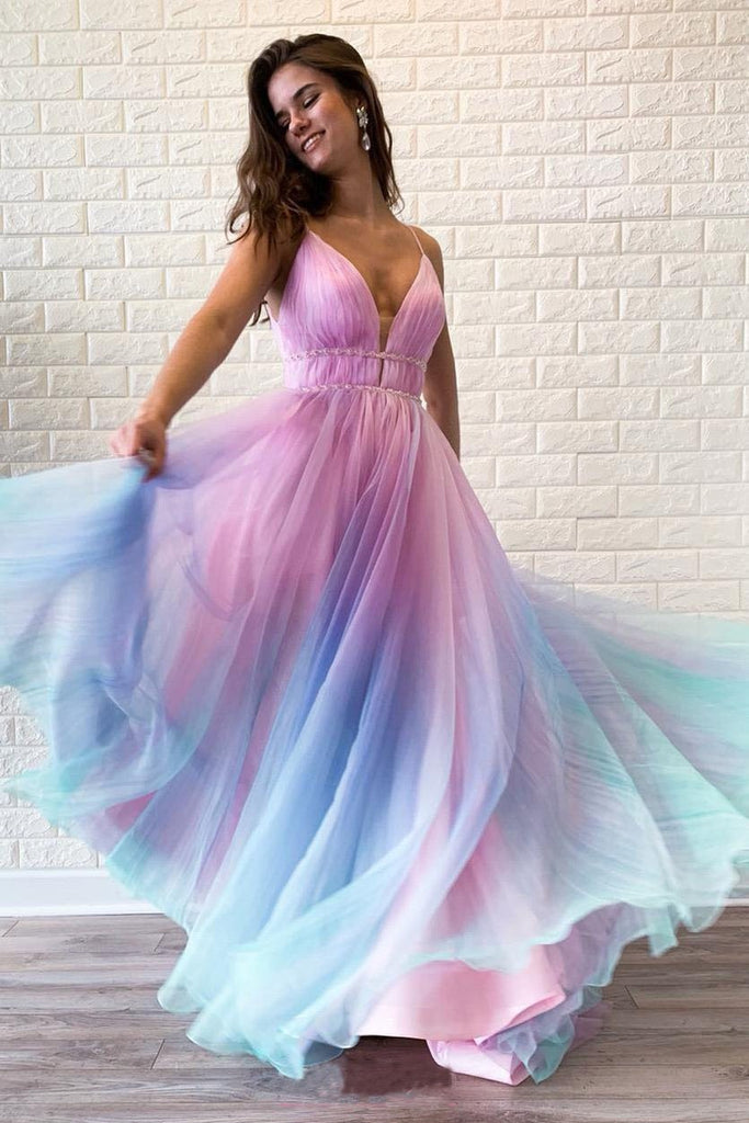Chic Ombre Spaghetti Straps V Neck Beaded Graduation Gowns, Long Prom Dresses P1019