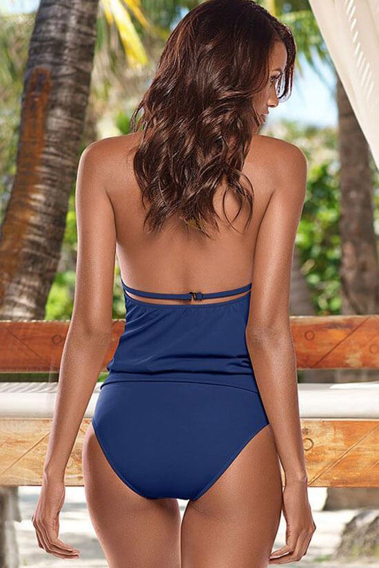 Classic Halter Solid Deep V Neck Wrap Tankini Swimsuit SK073