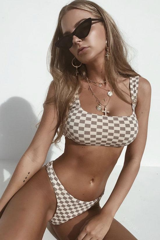 Two Piece Contrast Color Gingham High Leg Crop Swimwear SB205