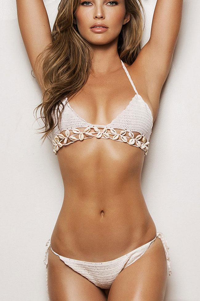Charming Crochet Triangle Halter Bikini Swimsuit SB218