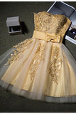 Cute Gold Strapless Mini Homecoming Dresses with Appliques, Sweetheart Cocktail Dress PW941