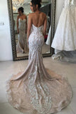 Cute Mermaid Ivory Lace Appliques Sweetheart Strapless Wedding Dresses with Sequins W1012