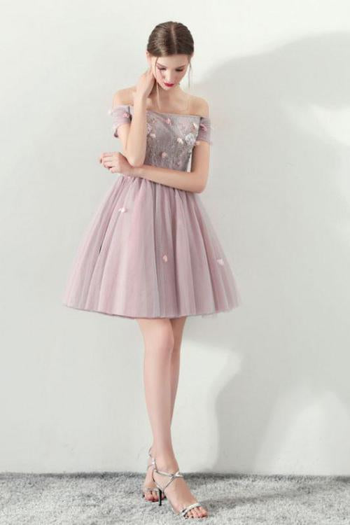 Cute Off the Shoulder Short Sleeve Tulle Above Knee Homecoming Dresses PW821