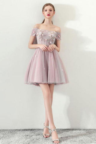 Cute Off the Shoulder Short Sleeve Tulle Pink Above Knee Homecoming Dresses PW821