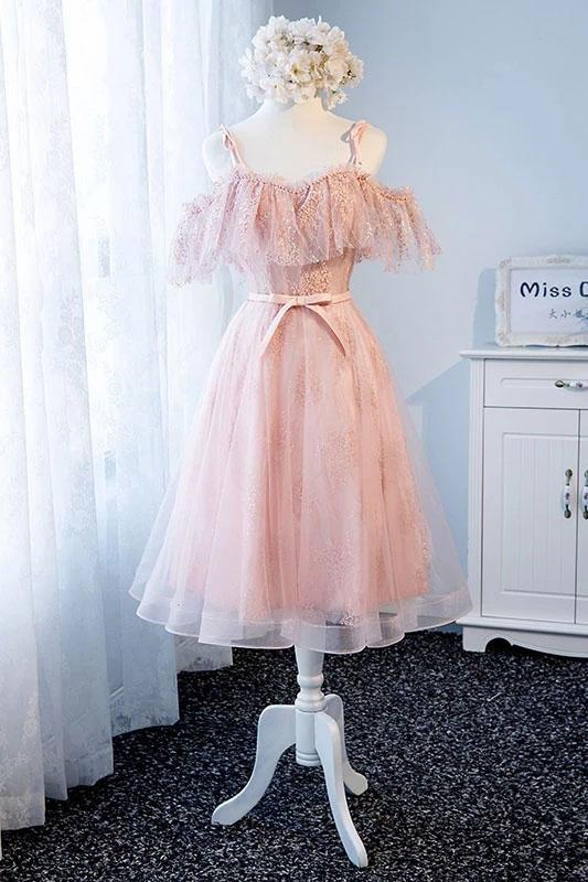 Pink Spaghetti Straps Tea Length Tulle Sweetheart Homecoming Dresses with Belt OM10