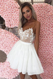 Cute Spaghetti Straps Sweetheart White Chiffon Homecoming Dresses with Lace H1026