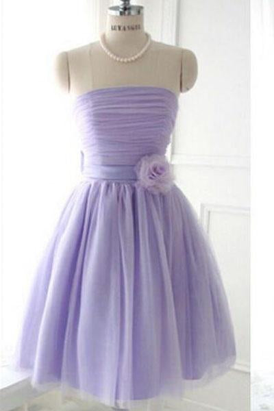 Cute Strapless Flower Lavender Chiffon Short Bridesmaid Dresses with Bow, Prom Dresses PW962