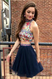 Cute Two Pieces High Neck Sleeveless Tulle Floral Print Short Homecoming Dresses H1037