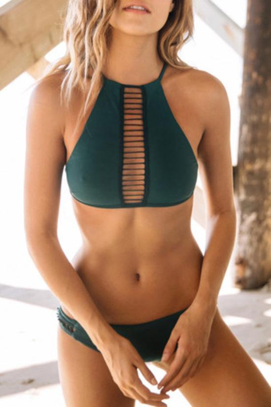 Dark Green Strappy High Neck Brazilian Beach Bikini SB94