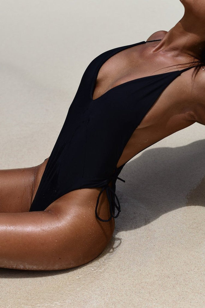 Deep V Neck Lace Up Strappy Low Back One Piece Swimsuit B0067