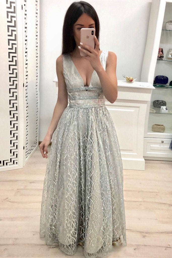 Elegant A Line V Neck Lace Straps Prom Dresses, Cheap Floor Length Evening Dresses PW899