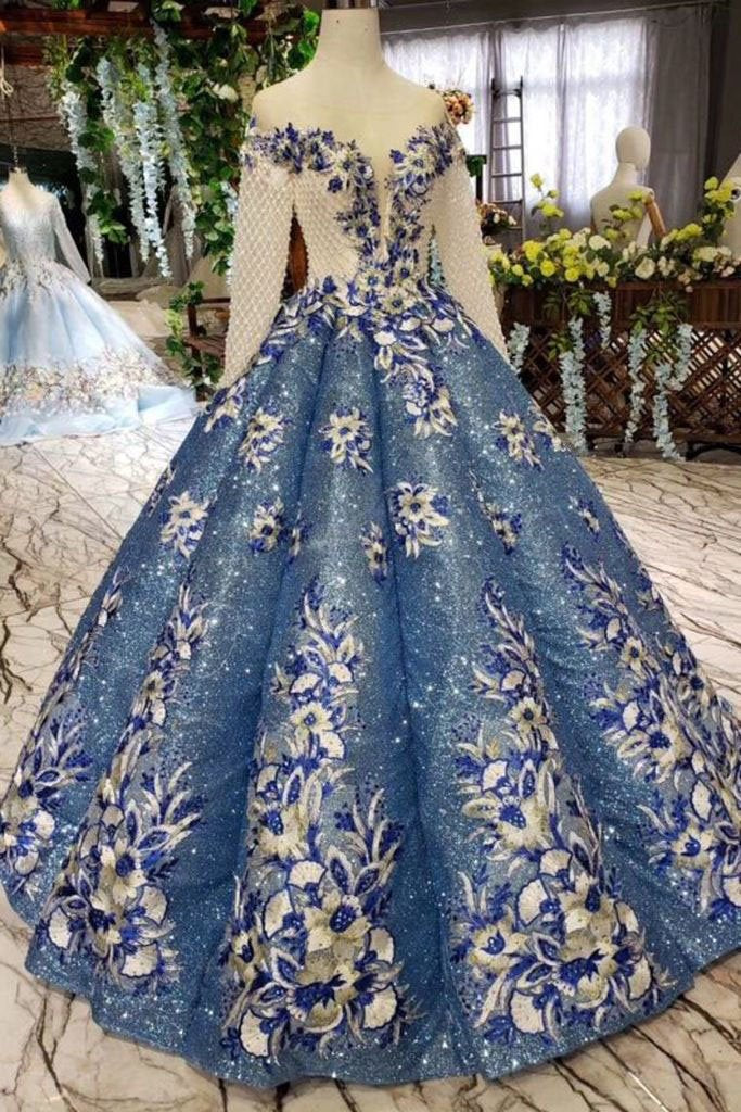 Gorgeous Ball Gown Sheer Neck Long Sleeves Lace up Sequins Appliques Quinceanera Dresses PW970