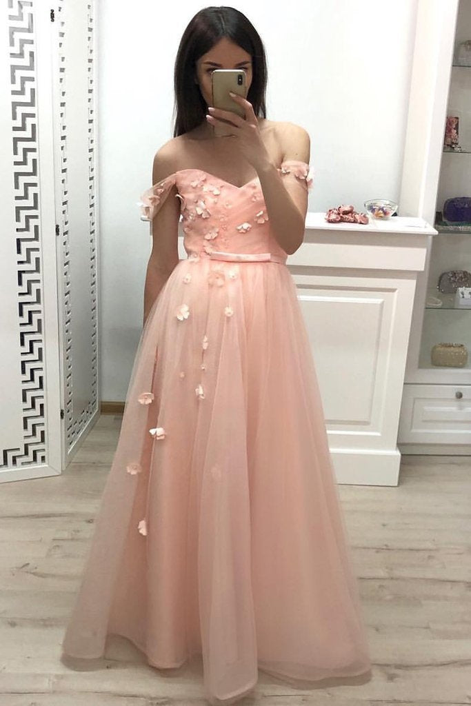 Off the Shoulder Sweetheart Tulle Prom Dresses, Pleats Prom Gowns With Flowers PW903