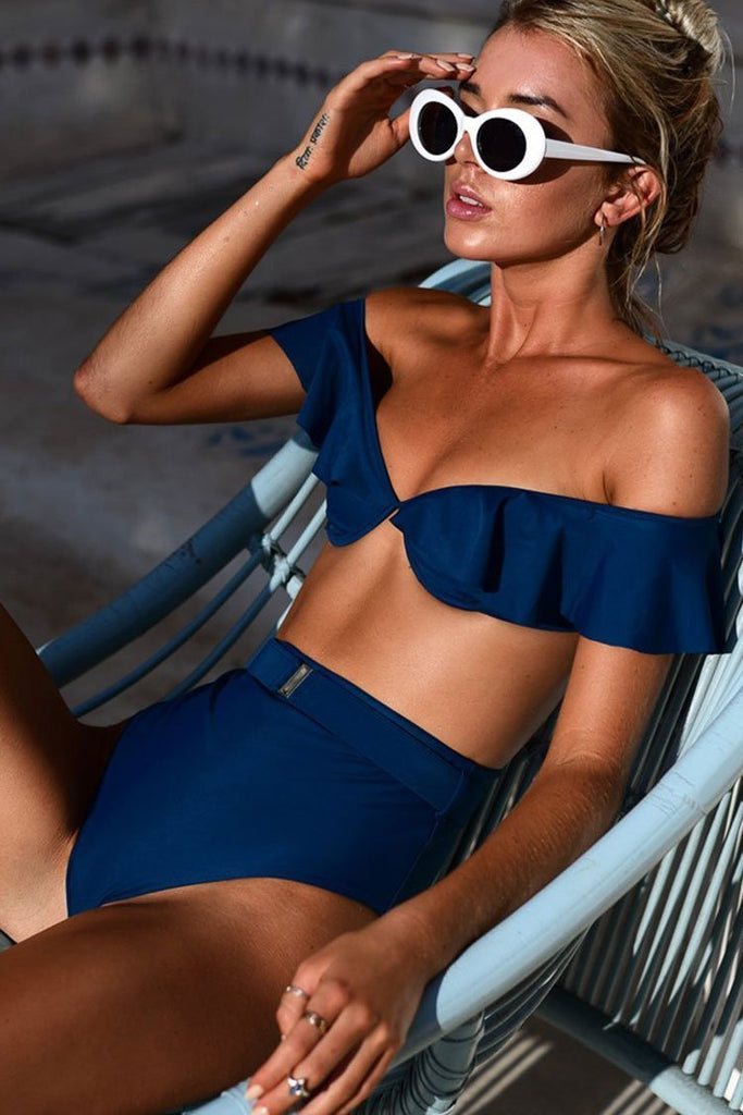 Chic High Waist Off Shoulder Swimsuit Sets with Ruffles SB140