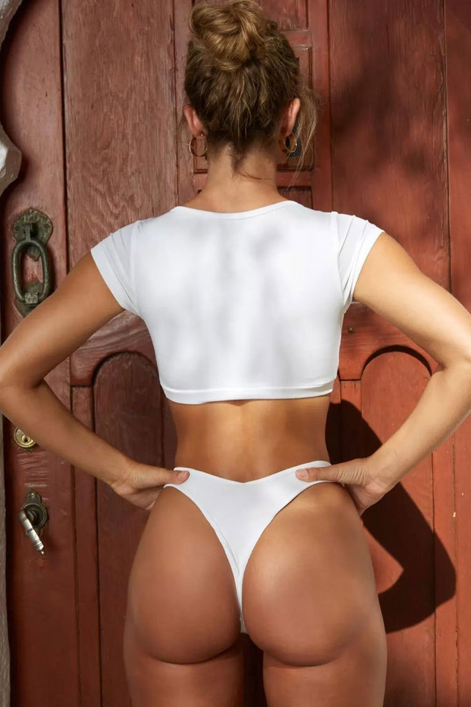 White High Leg Ribbed Button Crop Bikini Swimsuit SB156
