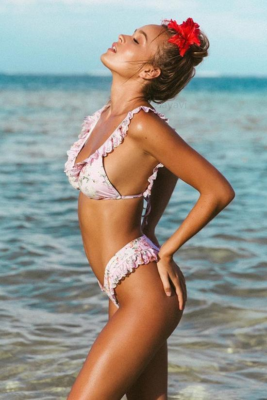Chic High Leg Scalloped Ruffle Floral Print Bikini Sets SB117