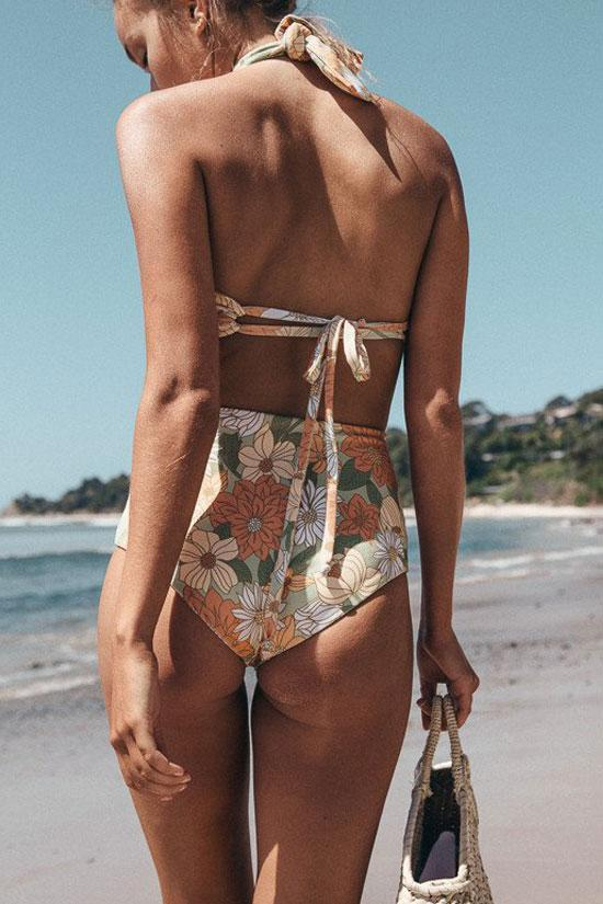 Chic High Waist Floral Halter Wrap Swimsuit SB101