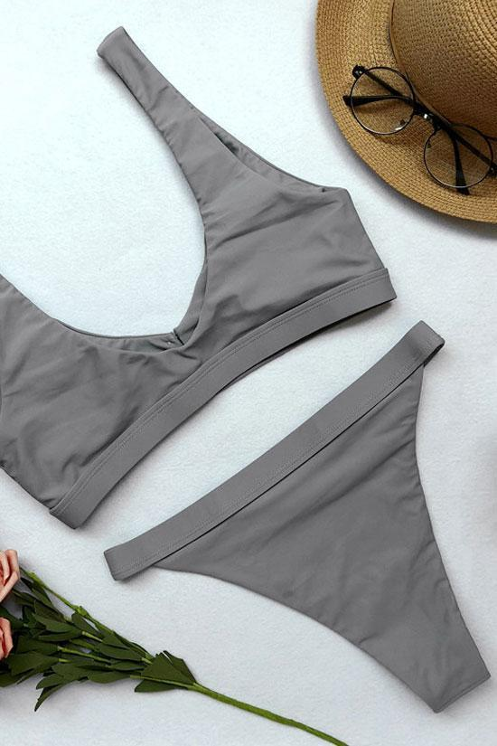 Simple High Waist Button Front Crop Swimsuit SB214