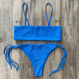 Girls Bikini For Sale Knotted Spaghetti Bandeau Swimsuit SW837