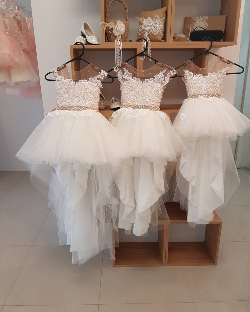 Lovely Flower Girl Dresses Cap Sleeve Pearls Appliques High Low Wedding Party Dress PW882