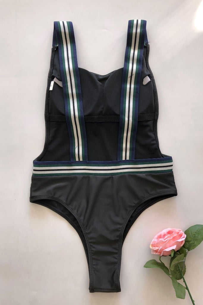 One Piece Low Back Striped Straps High Leg Thong Swimsuit SO357