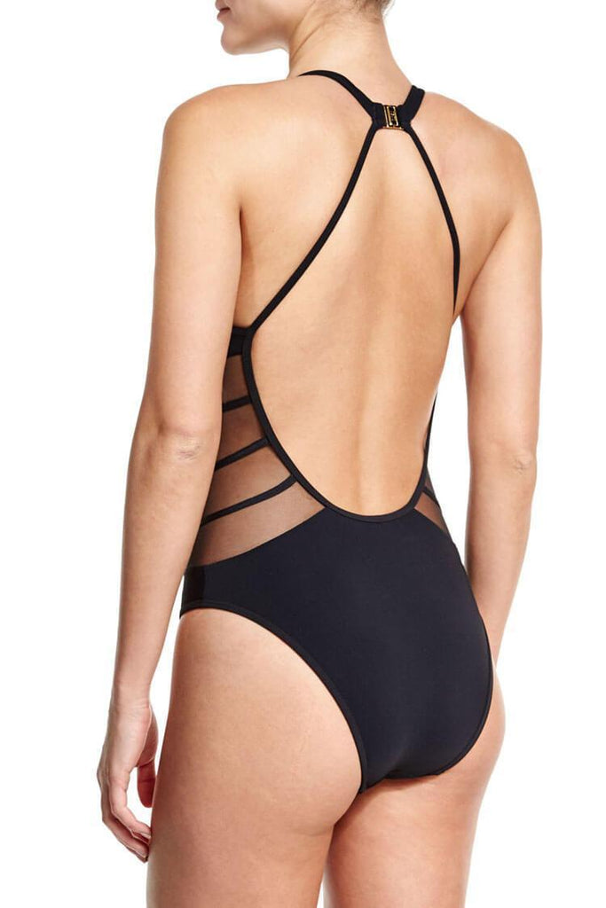 One Piece Low Back V Neck Splicing Mesh Swimsuit SO320
