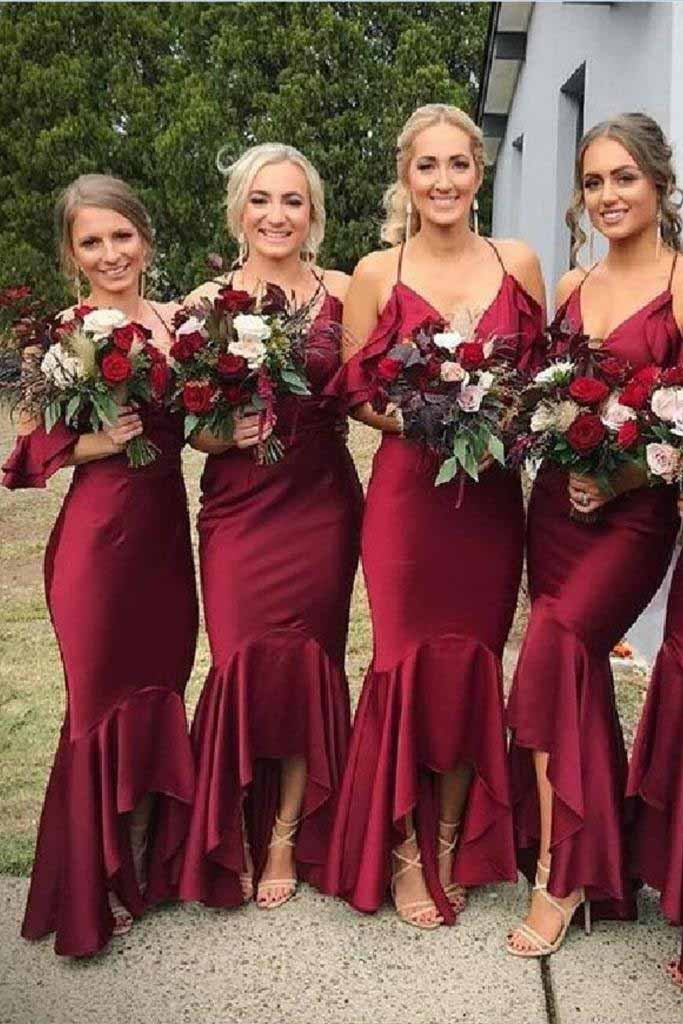 Mermaid Burgundy Spaghetti Straps V Neck Bridesmaid Dresses, Bridesmaid Gowns BD1006